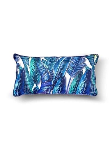 The Mia Tropik Yastık - Banana Palm Mavi  40x20cm Renkli